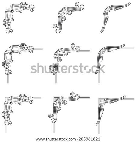 nine black decorative frame corners - stock vector