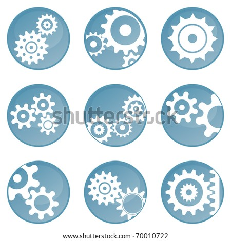 Nine blue wheel icons (buttons) - stock vector