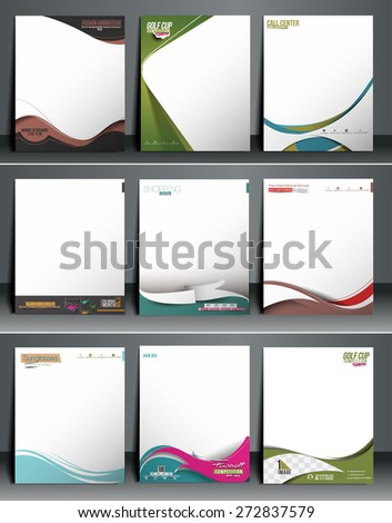 Nine Business Style Corporate Identity Leterhead Template.  - stock vector
