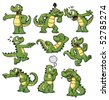 Nine cartoon crocodiles. All can be used separately as they are placed on different layers. - stock photo
