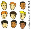 Nine cartoon faces of young men with various facial expressions. - stock