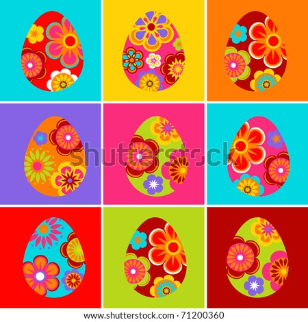 Nine colored Easter egg backgrounds - stock vector