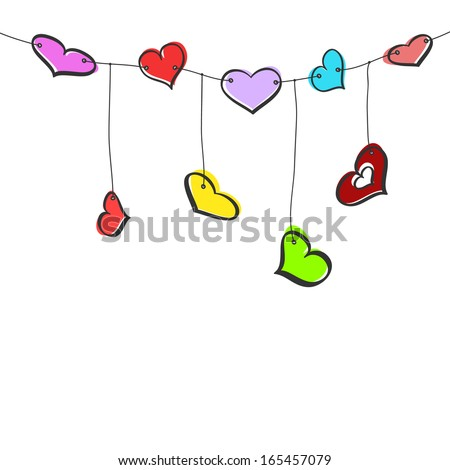 Nine colorful sketch hanging hearts on white background - stock vector