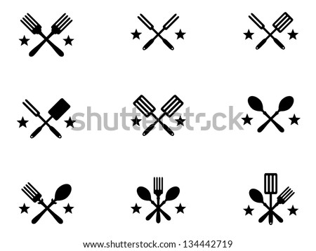 Nine Crossing Cooking Icons with Stars for Menus. - stock vector