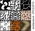Nine different animal textures cows,zebras,girafe,tiger,snow leopard - stock vector