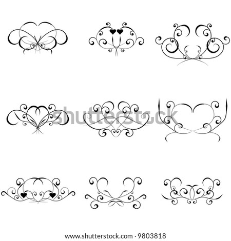 Nine different black design elements isolated on white