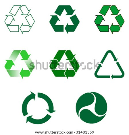 Nine different recycling symbol - stock vector