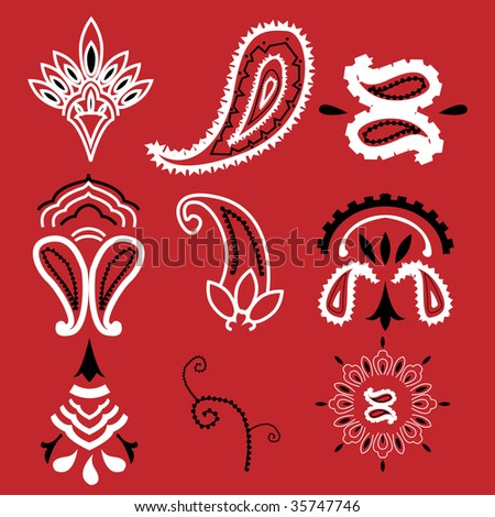 Nine elements commonly used for a bandanna, no gradients used, plain colors. Easily editable. - stock vector