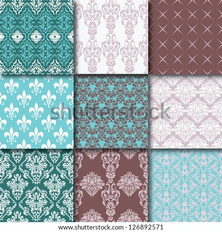 Nine fabric patterns - stock vector