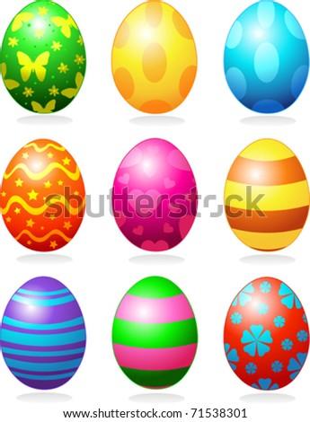 Nine fine painted eggs designed for Easter - stock vector