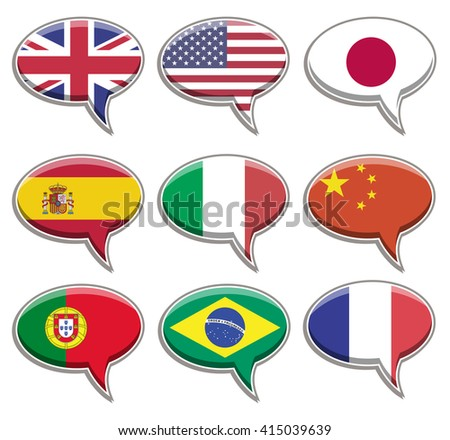 Nine flag language bubbles. CMYK vector illustration.