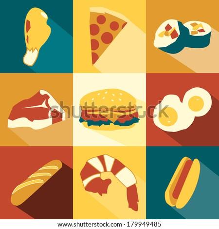Nine Food Icons - stock vector