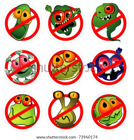 Nine germs and prohibition signs - stock vector