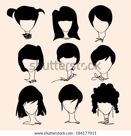 nine girl lady  various hair style, vector file, illustration  - stock vector
