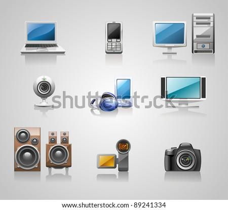 nine glossy media icons - stock vector