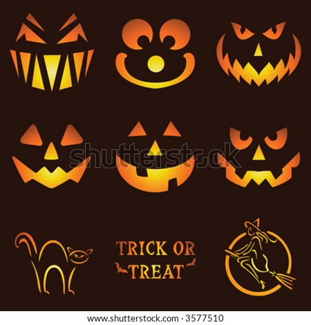 Nine Glowing Jack O Lantern Designs - stock vector