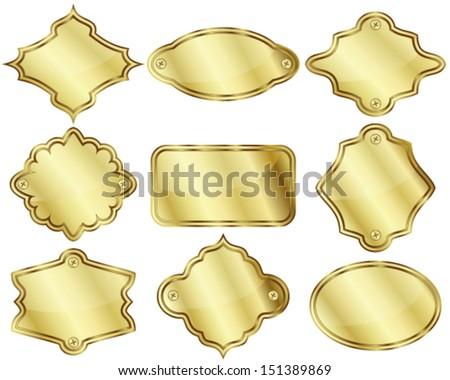 Nine golden labels - stock vector