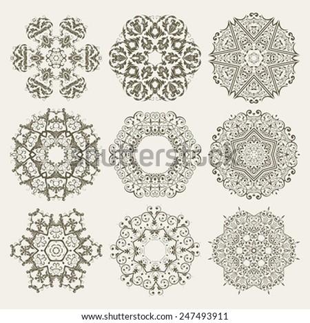 Nine Guilloche Floral Elements - stock vector
