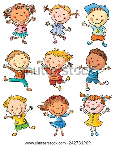Nine happy cartoon kids dancing or jumping with joy, no gradients, isolated - stock vector