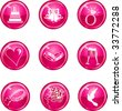Nine Hot pink glossy wedding web icons. - stock vector