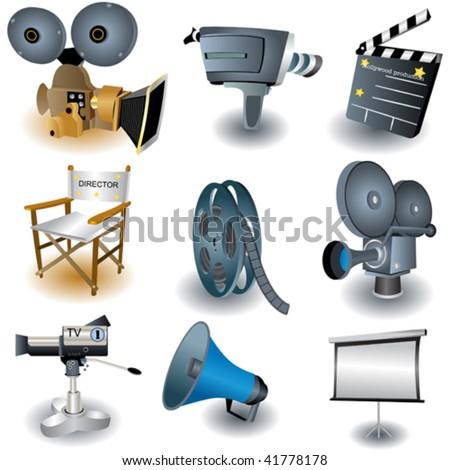 Nine illustrated movie equipment. - stock vector