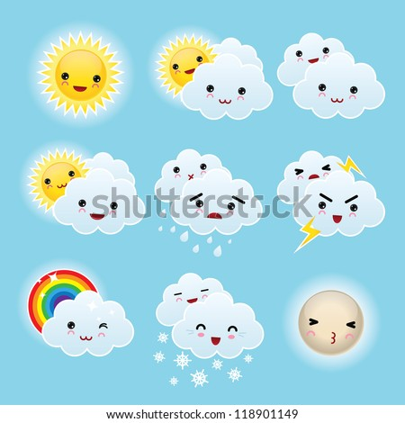 Nine kid kawaii weather icons