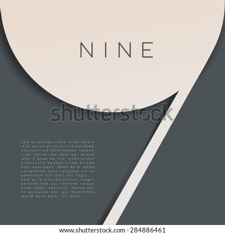 Nine : Numeral Graphic in Overlapping Element : Vector Illustration - stock vector