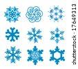 Nine original vector snow-flakes. - stock vector