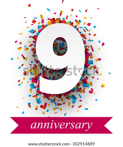 Nine paper sign over confetti. Vector holiday anniversary illustration.  - stock vector