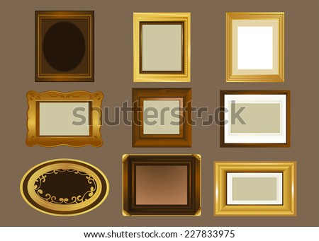 Nine Picture frame, in different shapes and sizes vector illustration. Oval frame, rectangular frame, square shaped frame, wooden frame and golden frame. - stock vector