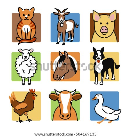 nine popular farm or pet animals as colour icons - Pictures Of Animals To Colour In
