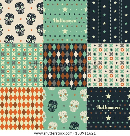 Nine seamless pattern. Halloween Collection. - stock vector