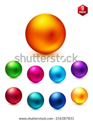Nine Shiny Spheres in Different Light Colors Isolated on White Background - stock vector