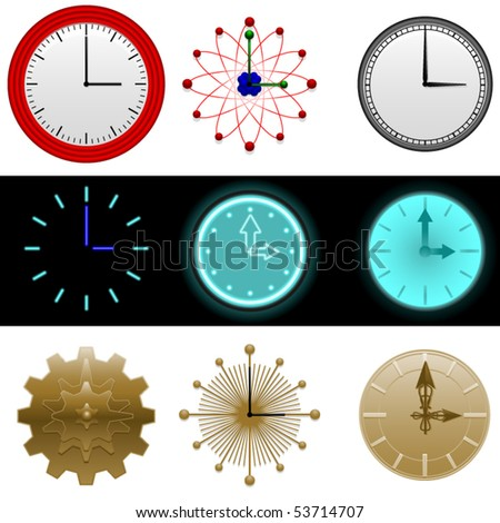 Nine simple clock faces with space for numbers if desired - stock vector