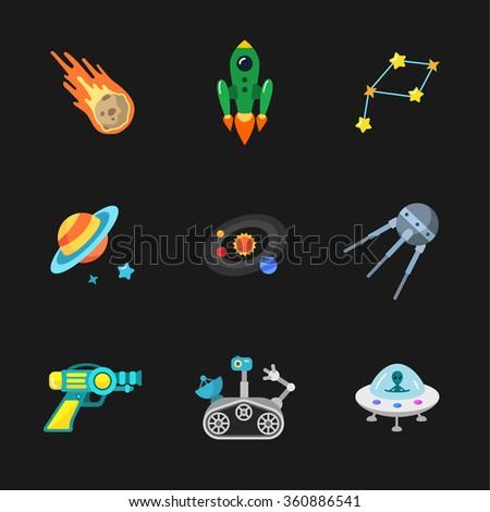 nine stylish space icons - stock vector