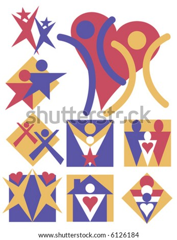 Nine symbolic illustrations of people and families. - stock vector