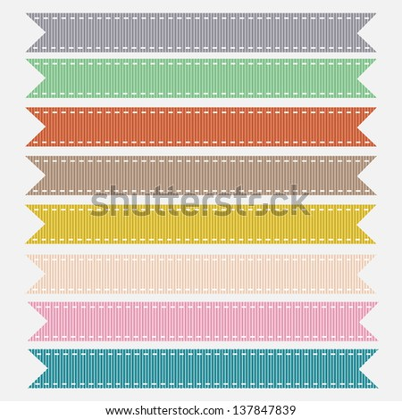 Nine Trimmed Pastel Grosgrain Ribbon Textures. Vector Illustration. Also see other color sets. - stock vector