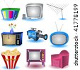 Nine TV and similar related icons. - stock vector