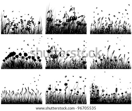 Nine vector grass silhouettes backgrounds. All objects are separated. - stock vector