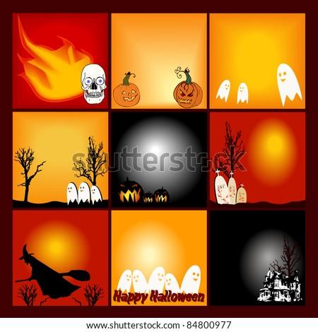 Nine 300x300 Halloween Web Banners - stock vector