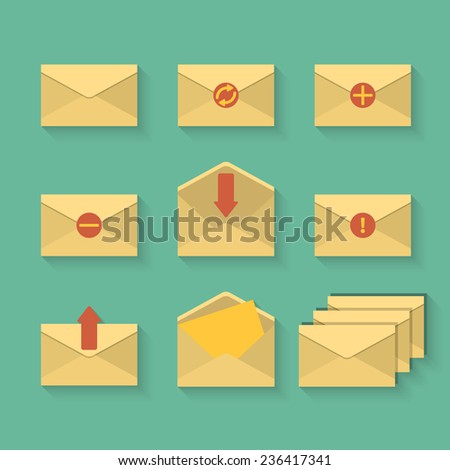 Nine yellow mail icon set in flat design style. Vector illustration. - stock vector