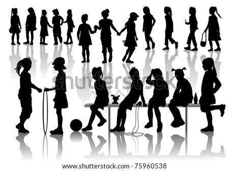 Nineteen silhouettes  of playing girls - stock vector
