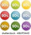 Ninety percent discount sale emblem seal symbol different colors vector - stock photo