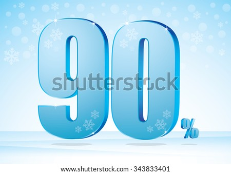 ninety percent on snow background - stock vector