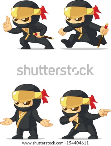 Ninja Customizable Mascot 15 - stock vector