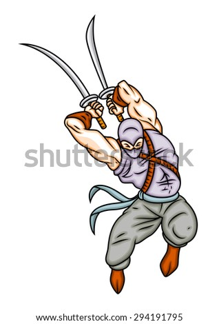 Ninja Fighter Vector Illustration - stock vector