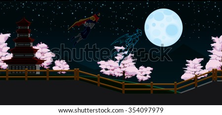 Ninja Flying Black and Red Cape in Japan Night Background with fence, pink trees, moon and sky Cartoon Vector - stock vector