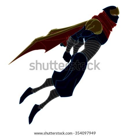 Ninja Flying Up With Cape Cartoon Vector - stock vector