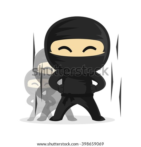 Ninja Growing Up Level Up Very Fast Vector Character - stock vector