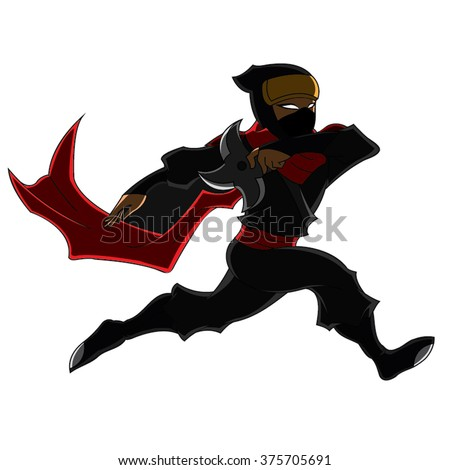 Ninja Samurai Throwing Star In Action Red Black Cartoon Vector - stock vector